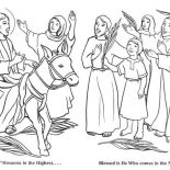 Palm Sunday, The Coming Of Zions King In Palm Sunday Coloring Page: The Coming of Zions King in Palm Sunday Coloring Page