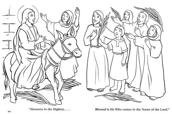 Palm Sunday, : The Coming of Zions King in Palm Sunday Coloring Page