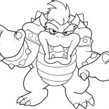 Mario Brothers, The Evil Dragon King In Mario Brothers Coloring Page: The Evil Dragon King in Mario Brothers Coloring Page