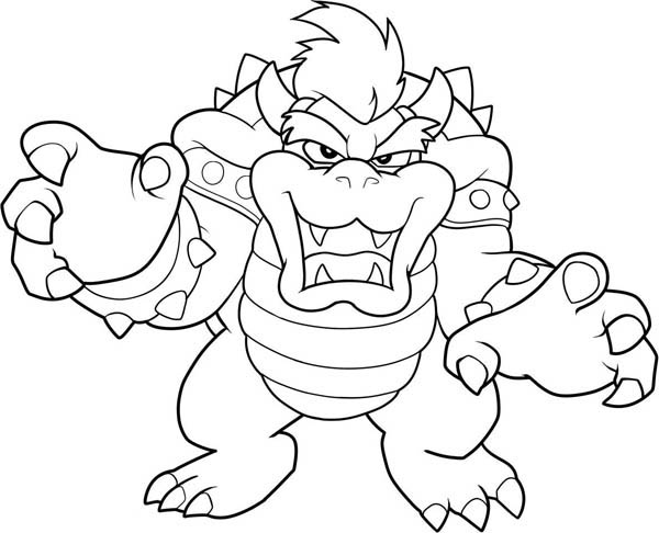 Mario Brothers, : The Evil Dragon King in Mario Brothers Coloring Page