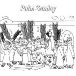 Palm Sunday, The Feast Commemorates Jesus Triumphal Entry Into Jerusalem In Palm Sunday Coloring Page: The Feast Commemorates Jesus Triumphal Entry into Jerusalem in Palm Sunday Coloring Page