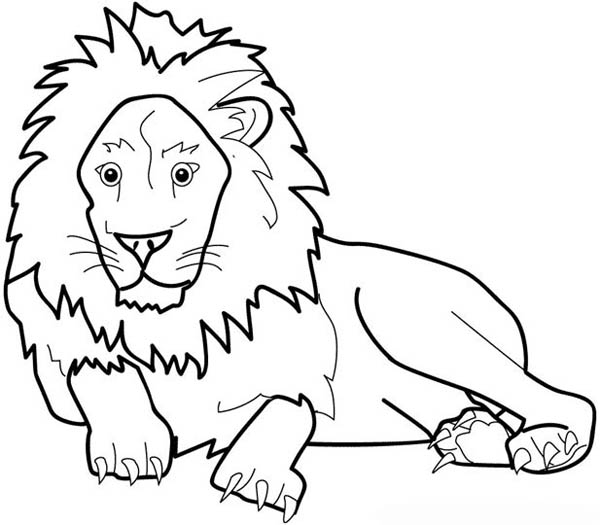 Lion, : The Great King of Jungle Lion Coloring Page