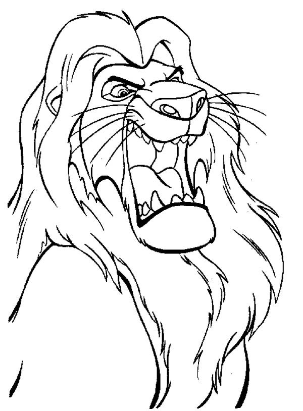 Lion, : The Lion King Mufasa is Angry Coloring Page