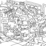 Rugrats, The Rugrats Make A Mess In The Kitchen Coloring Page: The Rugrats Make a Mess in the Kitchen Coloring Page