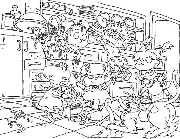 Rugrats, : The Rugrats Make a Mess in the Kitchen Coloring Page