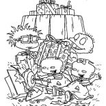 Rugrats, The Rugrats Open Present Together Coloring Page: The Rugrats Open Present Together Coloring Page