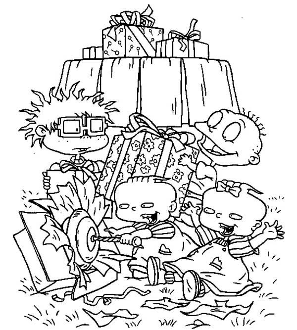 Rugrats, : The Rugrats Open Present Together Coloring Page