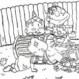 Rugrats, The Rugrats Is Dirty They Play In Garbage Can Coloring Page: The Rugrats is Dirty They Play in Garbage Can Coloring Page