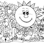 Nature, The Sun And Plants Of Nature Coloring Page: The Sun and Plants of Nature Coloring Page