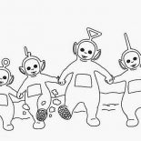 Teletubbies, The Teletubbies Dance Together Coloring Page: The Teletubbies Dance Together Coloring Page