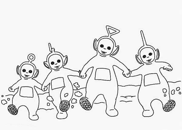 Teletubbies, : The Teletubbies Dance Together Coloring Page