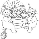 Teletubbies, The Teletubbies Eat Together Coloring Page: The Teletubbies Eat Together Coloring Page
