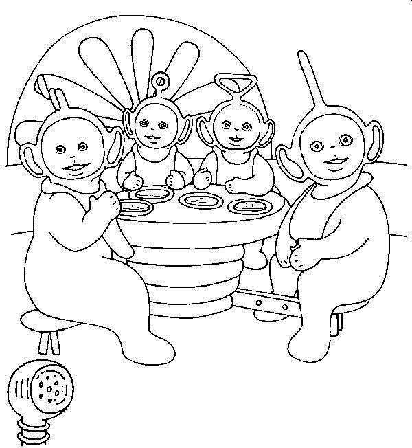 Teletubbies, : The Teletubbies Eat Together Coloring Page