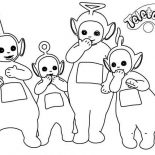 Teletubbies, The Teletubbies Giggling Coloring Page: The Teletubbies Giggling Coloring Page