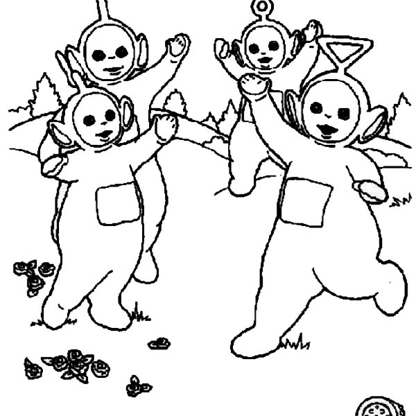 Teletubbies, : The Teletubbies High Five Coloring Page