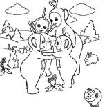Teletubbies, The Teletubbies Love Each Other Coloring Page: The Teletubbies Love Each Other Coloring Page