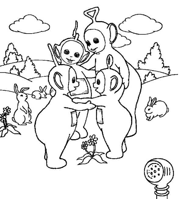 Teletubbies, : The Teletubbies Love Each Other Coloring Page