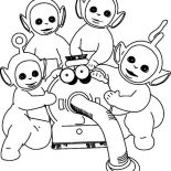 Teletubbies, The Teletubbies Love Noo Noo Coloring Page: The Teletubbies Love Noo Noo Coloring Page