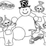 Teletubbies, The Teletubbies Making Snowman Coloring Page: The Teletubbies Making Snowman Coloring Page