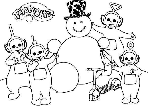Teletubbies, : The Teletubbies Making Snowman Coloring Page