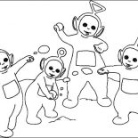 Teletubbies, The Teletubbies Playing With Snow Coloring Page: The Teletubbies Playing with Snow Coloring Page