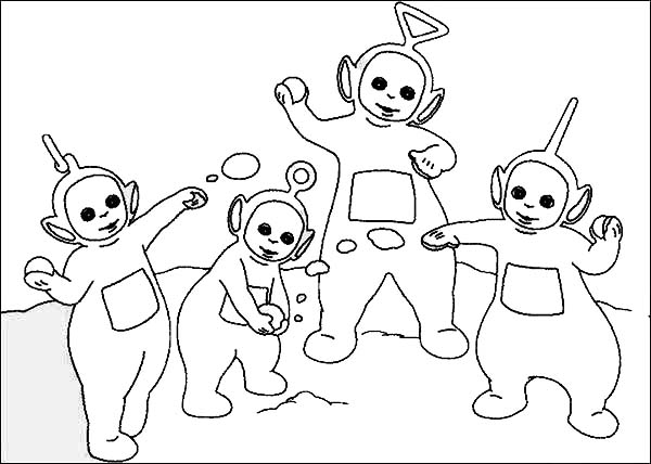 Teletubbies, : The Teletubbies Playing with Snow Coloring Page