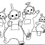 Teletubbies, The Teletubbies Running Together Coloring Page: The Teletubbies Running Together Coloring Page