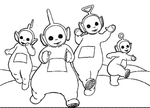 Teletubbies, : The Teletubbies Running Together Coloring Page