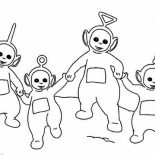 Teletubbies, The Teletubbies Walking Around Together Coloring Page: The Teletubbies Walking Around Together Coloring Page