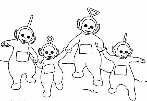 The Teletubbies Walking Around Together Coloring Page