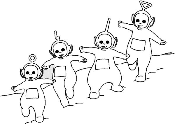 Teletubbies, : The Teletubbies Walking Sliding from Uphill Coloring Page