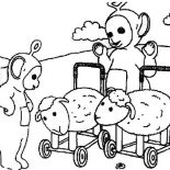 Teletubbies, The Teletubbies And Sheep Carriage Coloring Page: The Teletubbies and Sheep Carriage Coloring Page