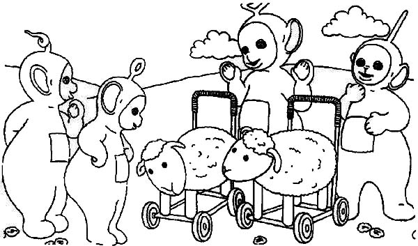 Teletubbies, : The Teletubbies and Sheep Carriage Coloring Page