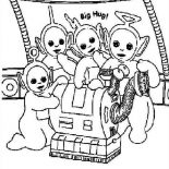 Teletubbies, The Teletubbies And Their House Keeper Noo Noo Coloring Page: The Teletubbies and Their House Keeper Noo Noo Coloring Page