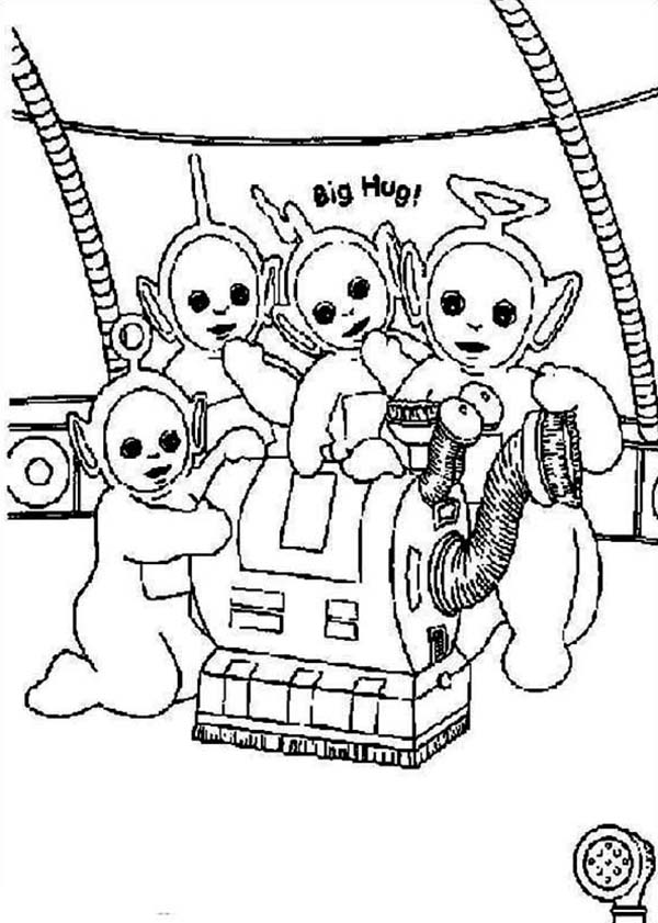 Teletubbies, : The Teletubbies and Their House Keeper Noo Noo Coloring Page