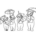 Teletubbies, The Teletubbies And Their Umbrella Coloring Page: The Teletubbies and Their Umbrella Coloring Page