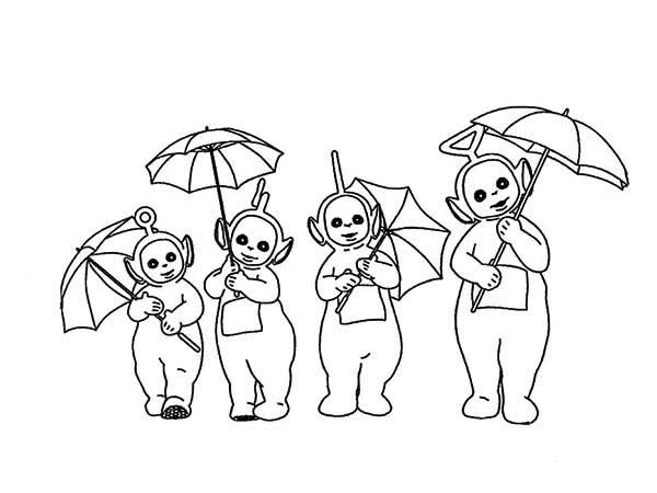 Teletubbies, : The Teletubbies and Their Umbrella Coloring Page