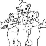 Teletubbies, The Teletubbies Is Hugging Coloring Page: The Teletubbies is Hugging Coloring Page