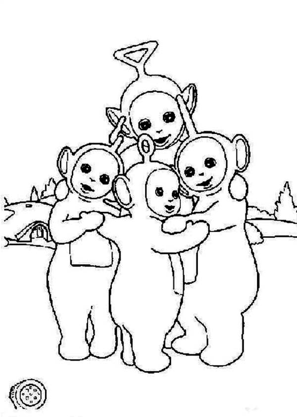 Teletubbies, : The Teletubbies is Hugging Coloring Page