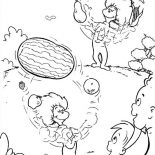 The Cat in the Hat, Thing One And Thing Two Juggling With Fruits In Front Of Sally And Her Brother In The Cat In The Hat Coloring Page: Thing One and Thing Two Juggling with Fruits in Front of Sally and Her Brother in the Cat in the Hat Coloring Page
