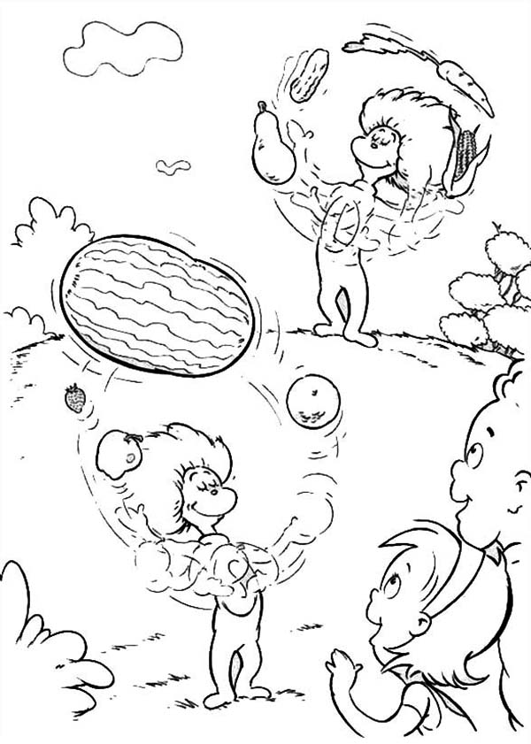 The Cat in the Hat, : Thing One and Thing Two Juggling with Fruits in Front of Sally and Her Brother in the Cat in the Hat Coloring Page