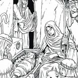 Nativity, Three Wise Man In Nativity Coloring Page: Three Wise Man in Nativity Coloring Page