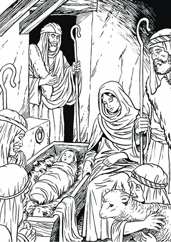 Nativity, : Three Wise Man in Nativity Coloring Page