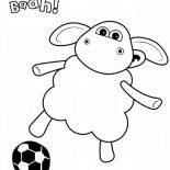Shaun the Sheep, Timmy Play Football In Shaun The Sheep Coloring Page: Timmy Play Football in Shaun the Sheep Coloring Page