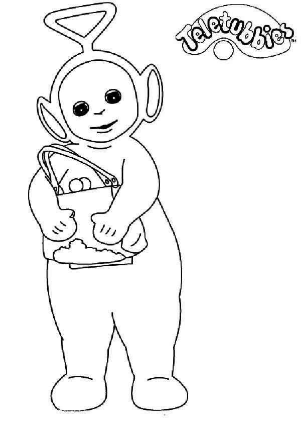 Teletubbies, : Tinky Winky Want to Shopping in Teletubbies Coloring Page