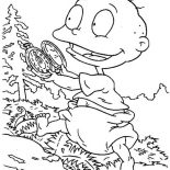 Rugrats, Tommy Play With His New Pocket Watch In Rugrats Coloring Page: Tommy Play with His New Pocket Watch in Rugrats Coloring Page