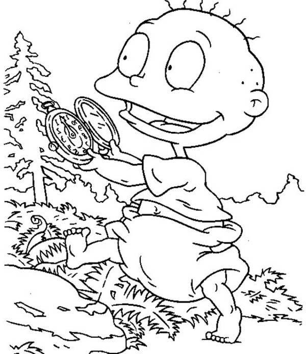 Rugrats, : Tommy Play with His New Pocket Watch in Rugrats Coloring Page