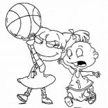 Rugrats, Tommy Want His Ball Angelica Took It In Rugrats Coloring Page: Tommy Want His Ball Angelica Took it in Rugrats Coloring Page
