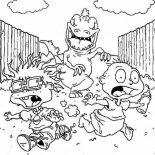 Rugrats, Tommy And Chuckie Run Wildly Chased By Dinosaurus In Rugrats Coloring Page: Tommy and Chuckie Run Wildly Chased by Dinosaurus in Rugrats Coloring Page