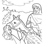 Palm Sunday, Triumphal Entry Of Jesus To Jerusalem In Palm Sunday Coloring Page: Triumphal Entry of Jesus to Jerusalem in Palm Sunday Coloring Page